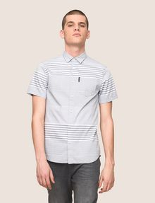 ARMANI EXCHANGE SHORT-SLEEVE VARIEGATED STRIPE REGULAR-FIT SHIRT Striped Shirt Man f