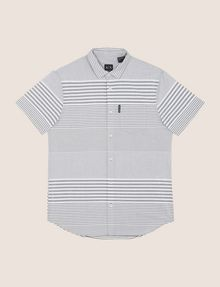 ARMANI EXCHANGE SHORT-SLEEVE VARIEGATED STRIPE REGULAR-FIT SHIRT Striped Shirt Man r