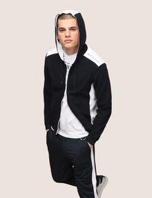 ARMANI EXCHANGE MIXED MEDIA ZIP-UP HOODIE Fleece Jacket Man a