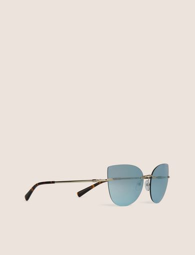 BLUE MIRROR FRAMELESS CAT-EYE