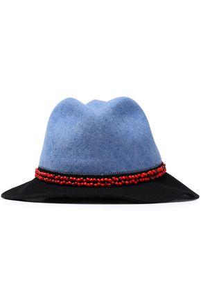SENSI STUDIO Bead-embellished two-tone wool-felt fedora