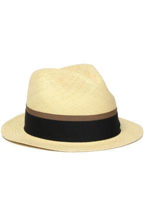 SENSI STUDIO Grograin-trimmed straw hat