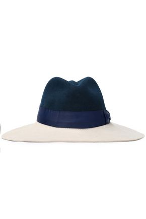 SENSI STUDIO Grosgrain-trimmed two-tone wool-felt fedora