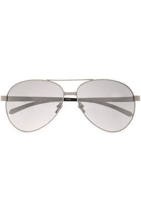 LINDA FARROW Aviator-style silver-tone sunglasses