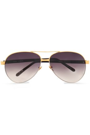LINDA FARROW Aviator-style metal sunglasses
