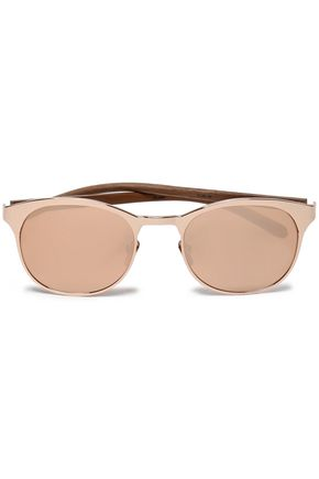 LINDA FARROW Round-frame rose gold-tone mirrored acetate sunglasses