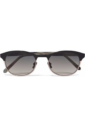 LINDA FARROW D-frame acetate and rose gold-tone sunglasses