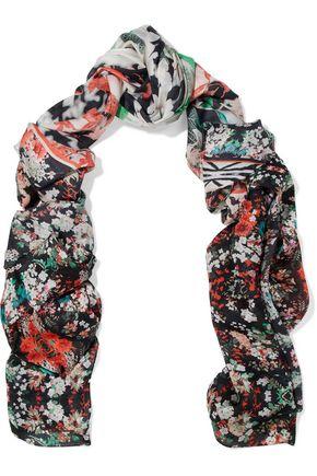 ROBERTO CAVALLI Floral-print chiffon scarf