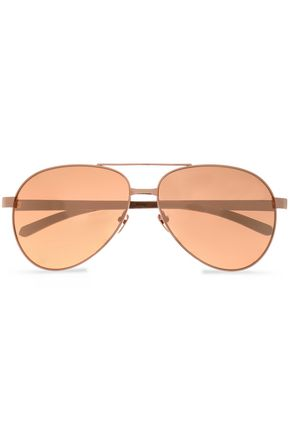 LINDA FARROW Aviator-style rose gold-tone sunglasses