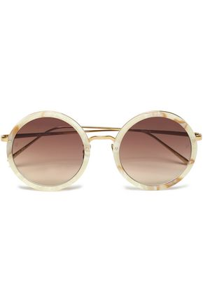 WOMAN ROUND-FRAME MARBLED ACETATE SUNGLASSES IVORY