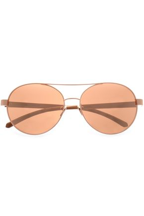 LINDA FARROW Aviator-style rose gold-tone and printed acetate sunglasses
