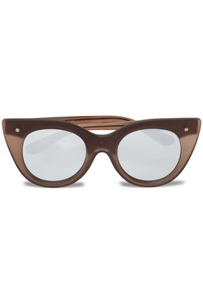 LE SPECS Cat-eye acetate mirrored sunglasses