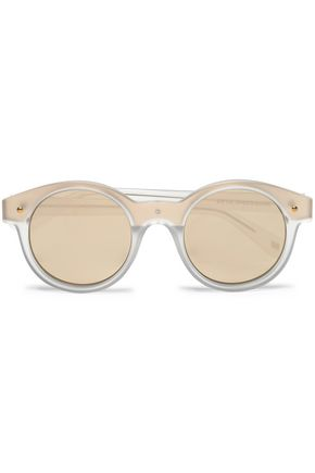LE SPECS Round-frame acetate and gold-tone mirrored sunglasses