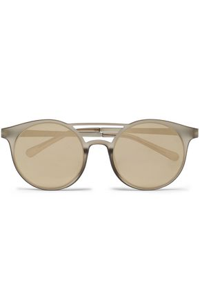 LE SPECS Round-frame gold-tone and acetate sunglasses