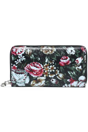 ALEXANDER MCQUEEN Paneled printed leather wallet