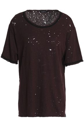 KORAL Distressed slub jersey T-shirt
