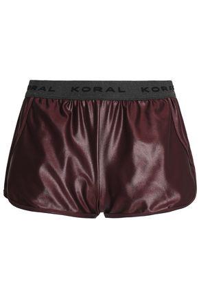 KORAL Monogram-trimmed coated stretch shorts