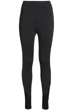 KORAL Mesh-trimmed mélange stretch leggings