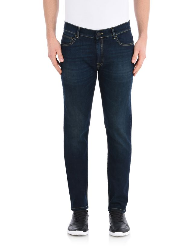 Scuderia Ferrari Online Store - Men's denim jeans with contrasting seams - Jeans
