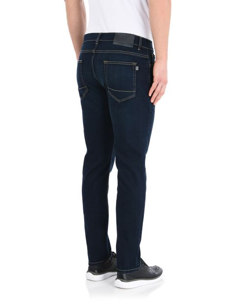 Men's denim jeans with contrasting stitching