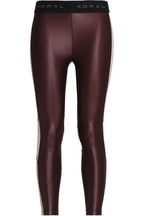 KORAL Mesh-paneled coated stretch leggings