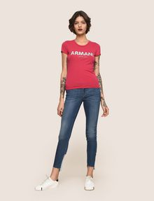 ARMANI EXCHANGE SEQUIN BLOCK LOGO TEE Logo T-shirt Woman d