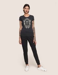 ARMANI EXCHANGE METALLIC CREST LOGO TEE Logo T-shirt Woman d