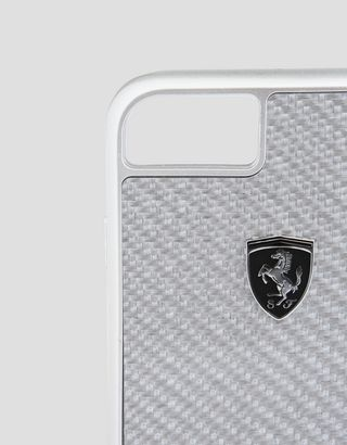 Scuderia Ferrari Online Store - Silver carbon fiber case for the iPhone 8 - Cover&Other Small Leather Good