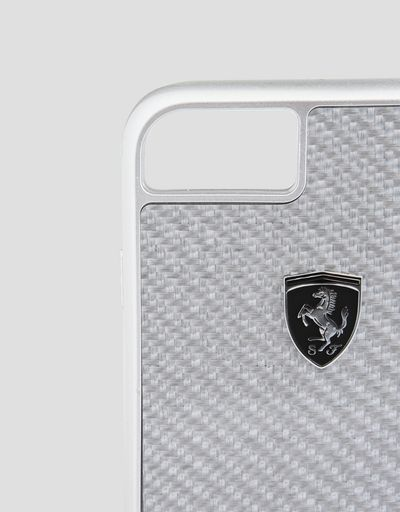 Scuderia Ferrari Online Store - Cover in vera fibra di carbonio silver per iPhone 8 - Cover&Other Small Leather Good