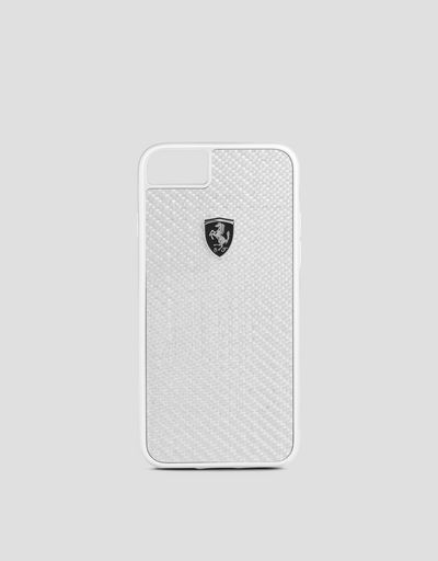 Funda de auténtica fibra de carbono de color plateado para iPhone 8