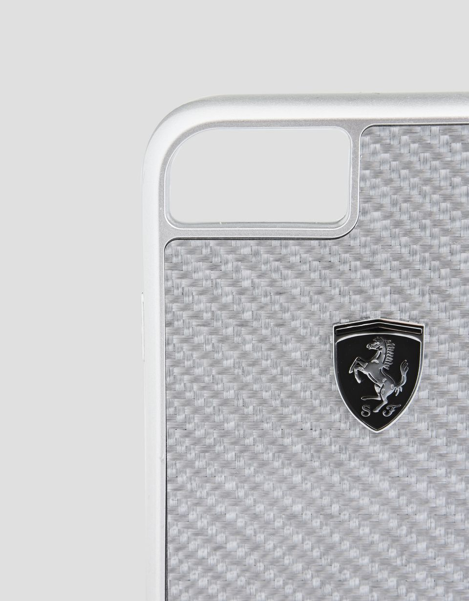 Scuderia Ferrari Online Store - Silver carbon fibre case for iPhone 8 - Cover&Other Small Leather Good