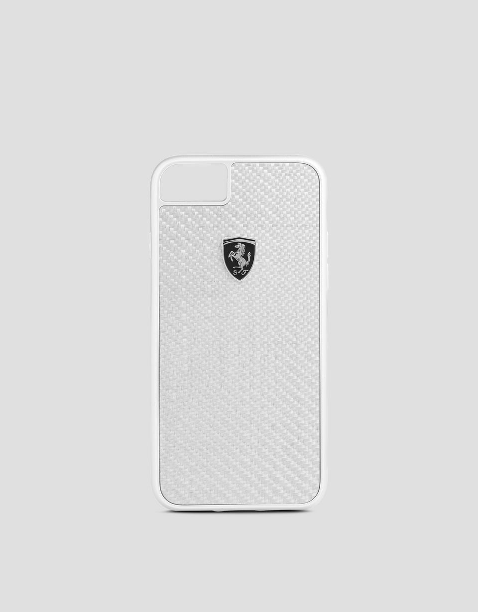 Scuderia Ferrari Online Store - Cover aus echter silberfarbener Carbonfaser für iPhone 8 - Cover&Other Small Leather Good