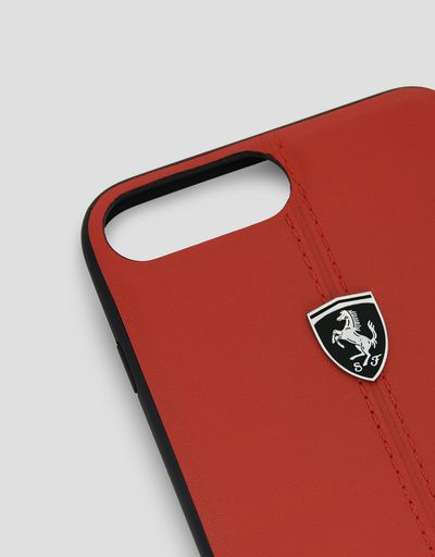 Scuderia Ferrari Online Store - Red rigid leather case for the iPhone 7 Plus and 8 Plus - Cover&Other Small Leather Good