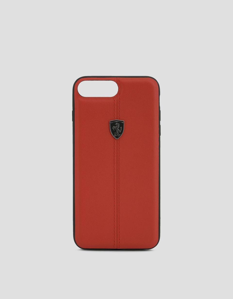 Scuderia Ferrari Online Store - Cover in pelle rossa per iPhone 7 Plus e iPhone 8 Plus - Cover&Other Small Leather Good