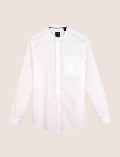 RELAXED-FIT BAND COLLAR SHIRT