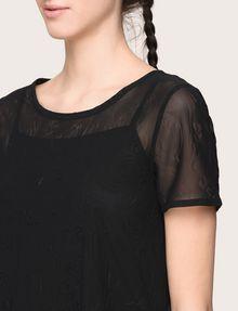 ARMANI EXCHANGE PRINTED MESH LAYERED TOP S/L Knit Top Woman b