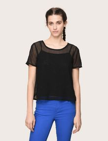 ARMANI EXCHANGE PRINTED MESH LAYERED TOP S/L Knit Top [*** pickupInStoreShipping_info ***] f