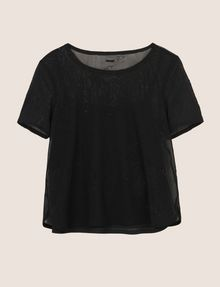 ARMANI EXCHANGE PRINTED MESH LAYERED TOP S/L Knit Top [*** pickupInStoreShipping_info ***] r