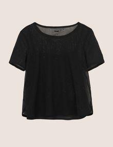 ARMANI EXCHANGE PRINTED MESH LAYERED TOP S/L Knit Top Woman r