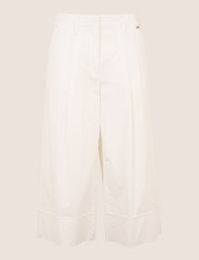 ARMANI EXCHANGE PLEAT-FRONT CROPPED POPLIN TROUSER Culotte Woman r