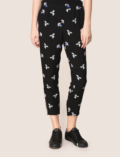 LEAF PRINT SLIM PIPED PANTS