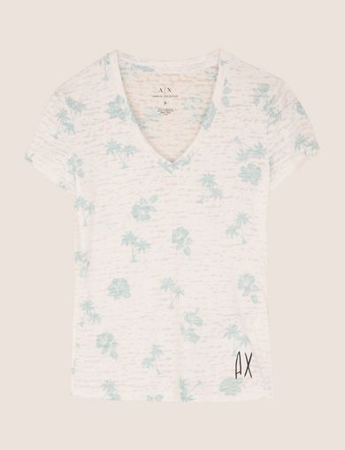 TROPICAL PRINT BURNOUT TEE