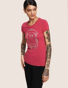 ARMANI EXCHANGE METALLIC CREST LOGO TEE Logo T-shirt Woman a