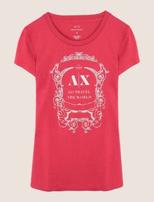 ARMANI EXCHANGE METALLIC CREST LOGO TEE Logo T-shirt Woman r