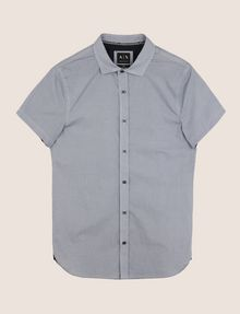 ARMANI EXCHANGE MIXED LOGO SLIM-FIT SHIRT Short-Sleeved Shirt Man r