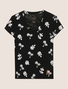 ARMANI EXCHANGE TROPICAL PRINT BURNOUT TEE Logo T-shirt Woman r