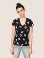 ARMANI EXCHANGE TROPICAL PRINT BURNOUT TEE Logo T-shirt Woman f