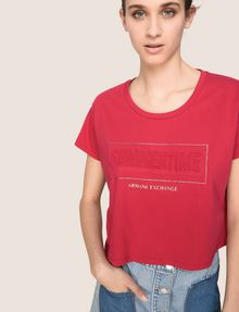 ARMANI EXCHANGE CROPPED EMBOSSED SUMMERTIME TEE Logo T-shirt Woman a