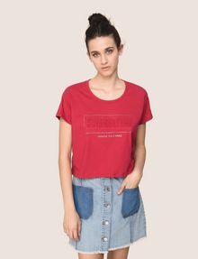 ARMANI EXCHANGE CROPPED EMBOSSED SUMMERTIME TEE Logo T-shirt Woman f