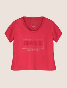 ARMANI EXCHANGE CROPPED EMBOSSED SUMMERTIME TEE Logo T-shirt Woman r